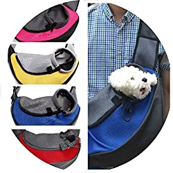 Pet Carrier Cat Puppy Small Animal Carriering Front Mesh Travel Tote Shoulder Bag Backpack,Yellow,S