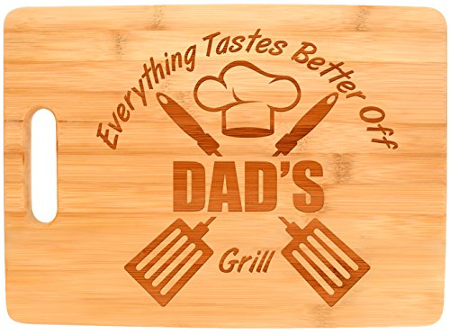 Laser Engraved Cutting Board Everything Tastes Better Off Dad's Grill Gifts for Dad Grilling Gifts Dad Birthday Gift Dad Grill Accessories Big Rectangle Bamboo Cutting Board