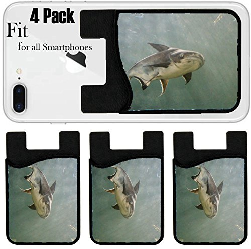 Liili Phone Card holder sleeve/wallet for iPhone Samsung Android and all smartphones with removable microfiber screen cleaner Silicone card Caddy(4 Pack) ID: 22613923 Giant Catfish Pangasianodon giga by Liili