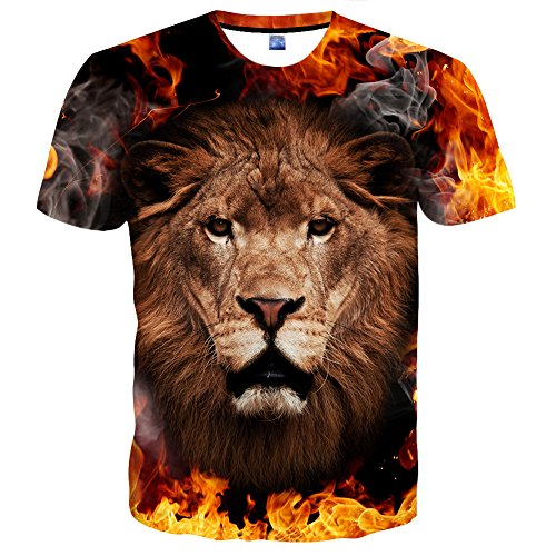 Hgvoetty Men's Fashion 3D Print Lion All Over Print Short Sleeve T-Shirt S