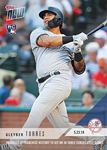 - 2018 Topps Now Baseball #242 Gleyber Torres Rookie Card - Youngest in Yankees History to Hit a Home Run in Three Straight Games - Only 2,492 made!