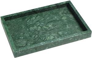 StonePlus Natural Marble Storage Vanity Tray, Cosmetics Jewelery Tray, Kitchen Organizer, Coffee Table Tray (Dark Green, 11.8L x 7.87W x 1.18H)