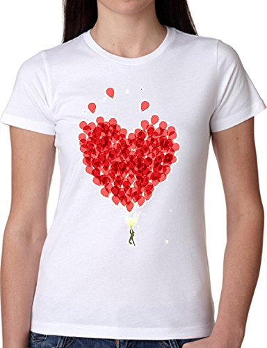 T SHIRT JODE GIRL GGG22 Z0439 HEAR BALOONS FLY LOVE SWEET LIFESTYLE GIRLY FUN FASHION COOL BIANCA - WHITE M