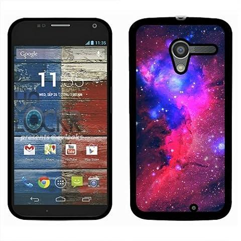 Motorola Moto X Phone XT1058 1st Gen 2013 Case, Fincibo (TM) Back Cover Slim Fit Hard Plastic Protector, Hot Pink Sky Galaxy (Moto X 1st Gen Phone Covers)