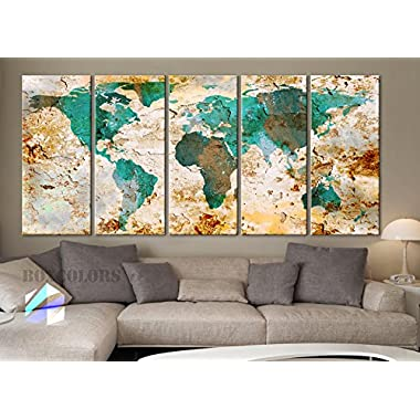 Xlarge 30 x 70  5 Panels 30x14 Ea Art Canvas Print World Map Original Watercolor Texture Old Wall Design Home Office Decor Green ( Framed 1.5  Depth)
