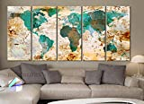 Xlarge 30″x 70″ 5 Panels 30×14 Ea Art Canvas Print World Map Original Watercolor Texture Old Wall Design Home Office Decor Green ( Framed 1.5″ Depth) Picture