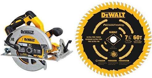 """DEWALT DCS570B 7-1/4"""" (184mm) 20V Cordless Circular Saw with Brake (Tool Only) with DEWALT DW3196 7-1/4-Inch 60T Precision Finishing Saw Blade"""