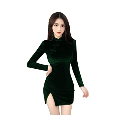 CrazyTiger Vestido de manga larga de terciopelo para mujer ...