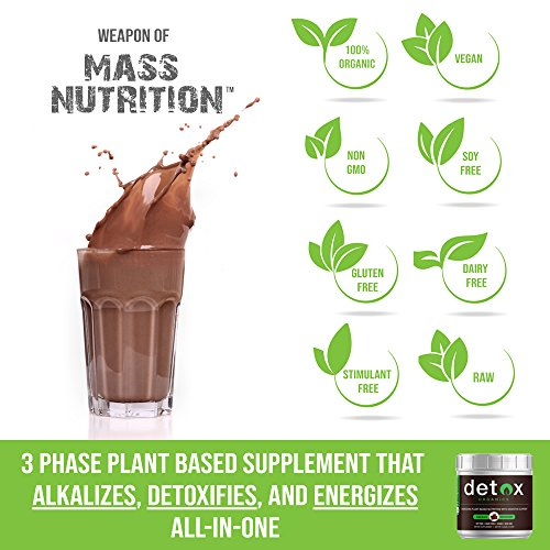 Chocolate Greens SUPERFOOD Powder - Amazing Taste - Organic Super Food Green Daily Vegetable Juice Smoothie Drink Supplement with Wheatgrass and 25+ Superfoods by Detox Organics by Detox Organics (Image #3)