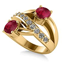 """14k Gold Allurez Ruby and Diamond Pave """"Ever Together"""" 2-Stone Ring in"""