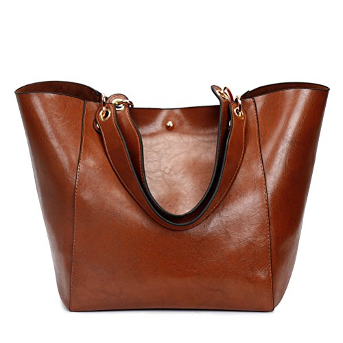 Handbag Leather Brown Bag Pcs Coffee Shopping Tote 4 PU College Aosbos Hobo Bag Bags Women wXq0Bt6
