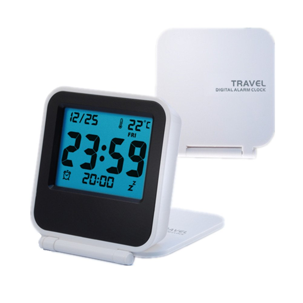 Amazon EBoTrade Travel Clock Alarm ClockPortable Battery Operated Digital Desk White Home Kitchen
