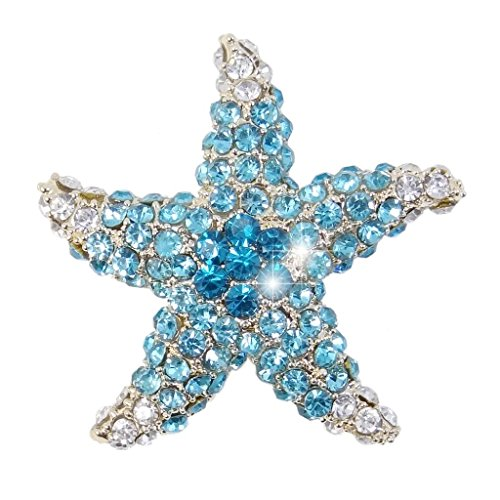 EVER FAITH Women's Austrian Crystal Dazzling Starfish Brooch Light Blue Silver-Tone (Starfish Crystal Brooch)