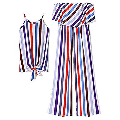 706d6fad0a Stripe Mommy and Me Family Matching Off-Shoulder Dresses Ruffle Floral Midi  Dress Sleeveless Skirt