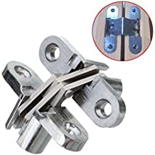 Ranbo ( Pack of 2) hidden gate hinge stainless steel Invisible door hinges concealed barrel wooden box silver (1-3/4 inch)