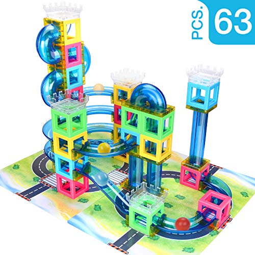 Magnetic Blocks with Marble Run Set Game - 63pcs Marble Maze Race Track Learning Toy for Kids, Construction Child Education Track Building Blocks (Storage Bag and Guidebook Include)