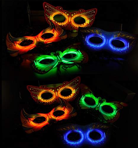 yuqinBB Glow in The Dark Party Supplies,8pcs Light up Masks Sticks for Party Supplies(Glow Sticks Masks) ()