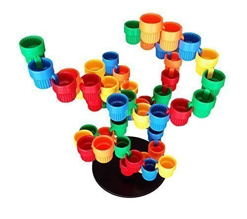 Magz Cup Up 50 Building Set Consisting of a Base in Black and 49 Cups in 5 (Nine Cup)