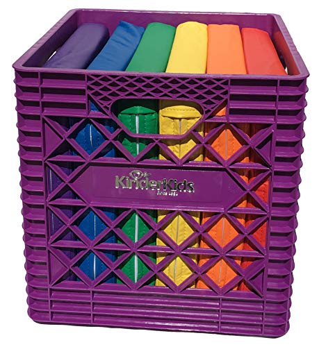 KinderMat, Purple KinderCrate, 6-Pack of 13.5 inch KinderCushions and Sturdy Storage Container, 2 inches Thick Squares Story Time Cushions, Alternative Seating, Yellow Blue Green Red Purple Orange