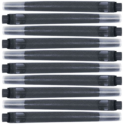 Parker Quink Permanent Ink Fountain Pen Refill Cartridges, 10 Black Ink Refills (3011031PP)