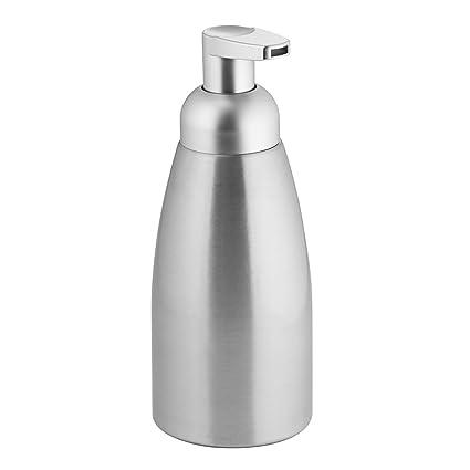 InterDesign Metro Dispensador de Espuma de jabón, dosificador de jabón líquido Extra Grande de Aluminio