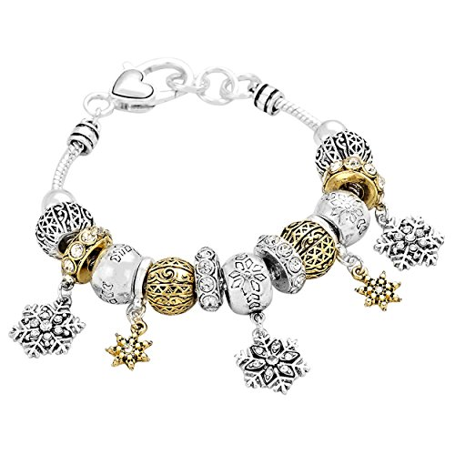 rosemarie-collections-womens-winter-dangle-snowflake-beaded-charm-bracelet-silver-and-gold