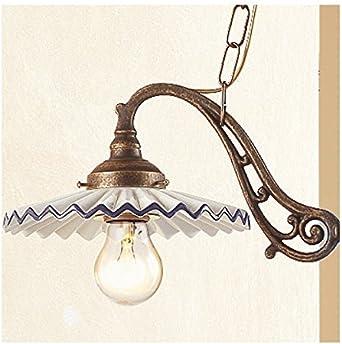 /Ø 60 cm Verde Lampada a bilanciere a 2 luci in ottone con piatti in ceramica plissettata retr/ò country
