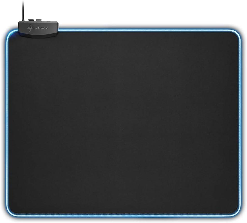 Sharkoon 1337 RGB XL - Alfombrilla Gaming, Flexible, Textil, 450x380x3 mm, Negro