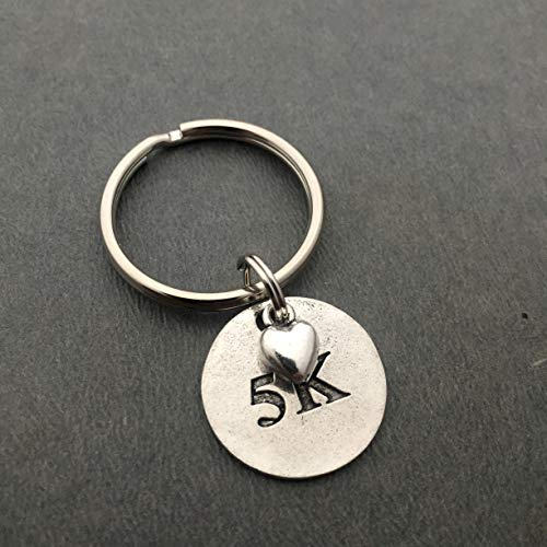 5K Love Key Chain - Pewter Heart and Pewter Round 5K Pendant on Round Stainless Steel Key Ring