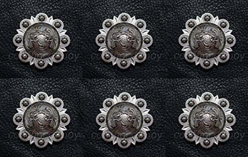 (JumpingLight Set of 6 Western Headstall Horse TACK Antique Pistols Conchos 1-1/2'' Screw Back Perfect for Crafts, Scrap-Booking, Jewelry, Projects, Quilts)