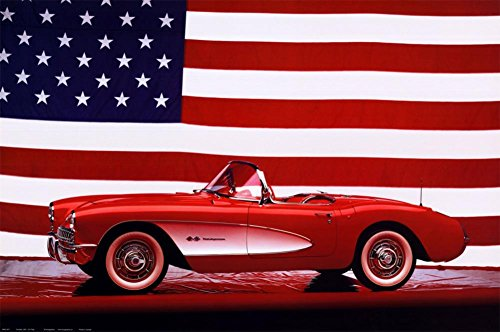 Corvette, 1957 with U.S. Flag Poster 36 x 24in