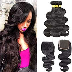 Ubeleco Body Wave Bundles With Closure Brazilian Virgin Hair Bundles 10 12 14 With 4x4 Lace Closure Free Part 10 Inch Grade 8A Unprocessed Human Hair Extensions Natural Color