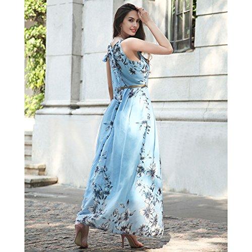 robe Vintage Print soie Floral Bleu taille avec Ruiyige de Femmes en Halterneck doublure ceinture mousseline t gR81n