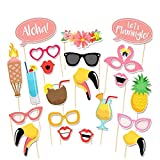 Alljoin 21pcs Hawaii Themed Summer Party Photo Booth Props Kit Luau Party Supplies for Holiday Wedding Party Favors