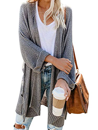 Ybenlow Womens Loose Knit Open Front Kimono Cardigans Drape Cape Long Sleeve Sweater Cloak Outwear Grey
