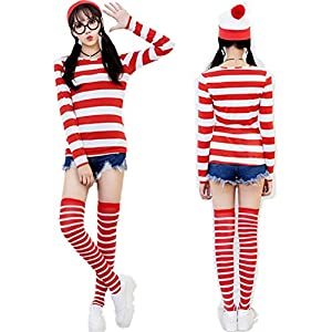 Mocona Women Where's Waldo Costume Funny Sweatshirt Outfit Glasses Suits