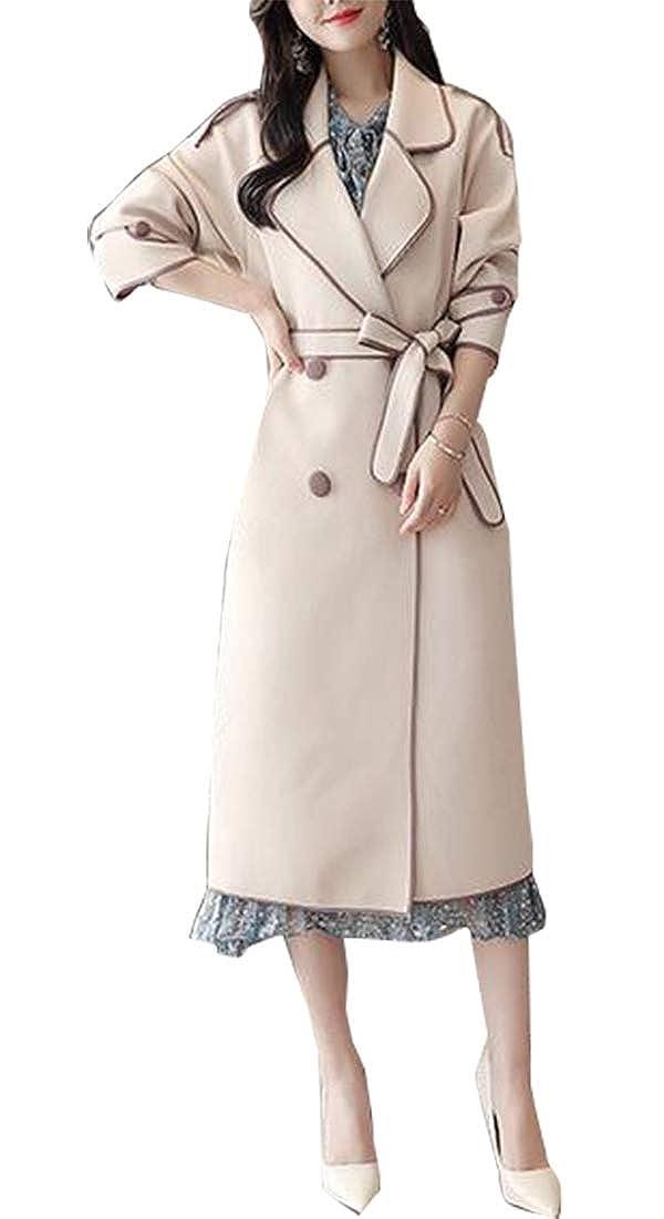 1 WSPLYSPJY Women British Double Breasted Slim Long Trench Coat Windbreaker Overcoat Coat