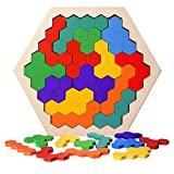 Wooden Puzzles Brain Teasers Toy for Kids Adults, 16 Pcs Colorful Hexagon Fun Geometry Logic Tangrams Puzzle Table IQ Game Montessori Educational Toys for Children (Color May Vary)