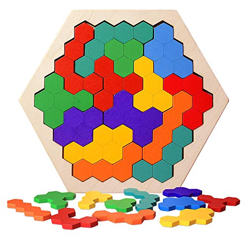 Brain Teasers Puzzles Toy for Kids & Adults | 16 Pcs Wooden Colorful Hexagon Fun Geometry Logic Tangram Puzzles Table IQ Game STEM Montessori Educational Toys Gift for Children (Color May Vary)