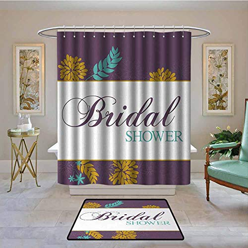 Bathroom Curtain Bridal Shower,Farm Village Abstract Flowers Bride Party Celebration Image,Purple Sky Blue and Marigold,Bathroom Shower Curtain Water Repellent and Mild Resistant 72