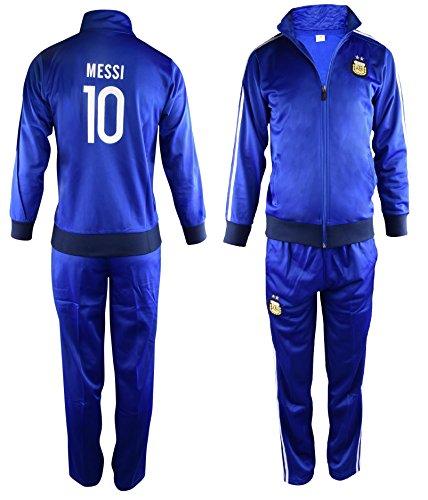 Fan Kitbag Argentina Messi #10 Kids Soccer Tracksuit All Youth Sizes ✓ Messi #10 Soccer Track Jacket Top ✓ Kids Soccer Track Pants ✓ GIFT READY Packaging ✓ (YL 10-12 Years Old, Messi #10)