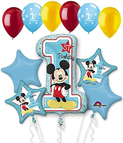 Image Unavailable Not Available For Color 11 Pc Mickey Mouse 1st Birthday Balloon Bouquet Party Decoration