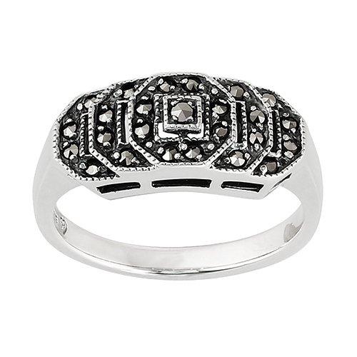 Gemondo Art Deco Stepped Ring, 925 Sterling Silver 0.28ct Marcasite Art Deco Style (Art Deco Marcasite Ring)