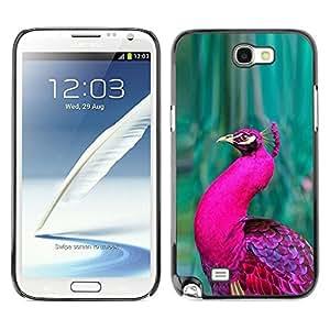 Peacock Green Bird púrpura vibrante pluma- Metal de aluminio y de plástico duro Caja del teléfono - Negro - Samsung Note 2 N7100