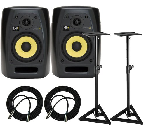 KRK VXT4 Active Studio Monitor - 4 Inch, 45 Watts (PAIR) / FREE Samson SAMS200 Heavy Duty Monitor Stands (Set of 2) and (2) XLR Cables 18ft each - 18' Pro Woofer
