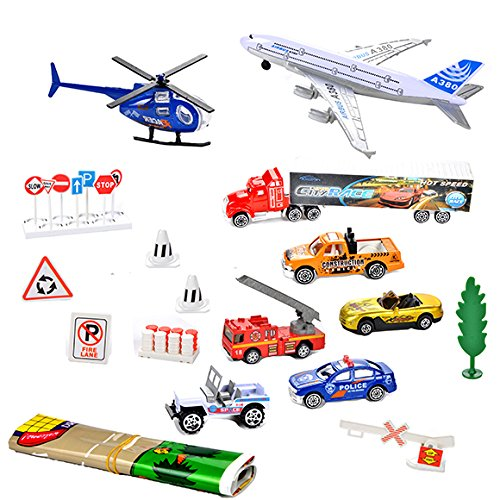 JOYIN City Vehicles Cars Play Set Including 8 Vehicles, Road Signs, Accessories and a Play Map, Great for Toys Gift