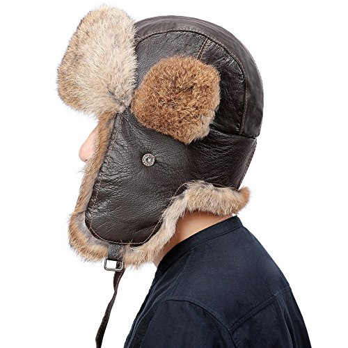 Valpeak Mens Real Rabbit Fur Winter Russian Ushanka Hats (Tan, Leather, 2XL)