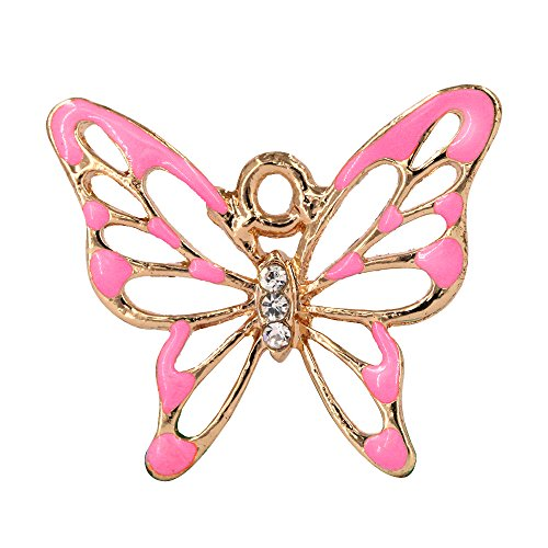 Creative DIY New Pink Crystal Butterfly Charms Pendants Wholesale (Set of 3) MH92-2