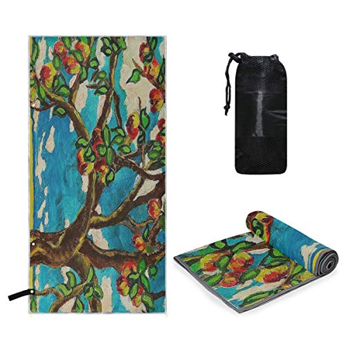 (Microfiber Travel Sports Towel Apple Tree Original Acrylic Painting Quick Dry Soft Lightweight Absorbent&Ultra Compact-Perfect for Camping Gym Beach Bath Yoga Backpacking Fitness +Gift Bag)