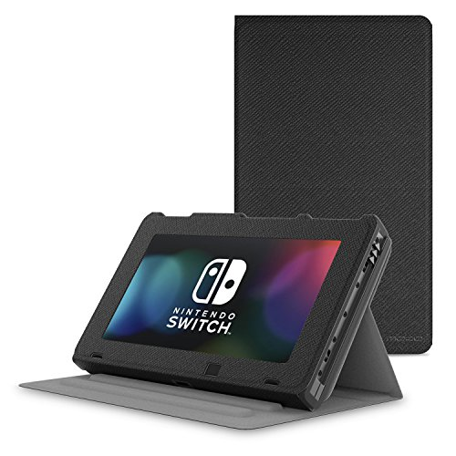 MoKo Case for Nintendo Switch, Protective Slim Folding [Multi-Angle Viewing] Stand Cover, Lightweight & Anti-Scratch, for Nintendo Switch Console(2017) - Black